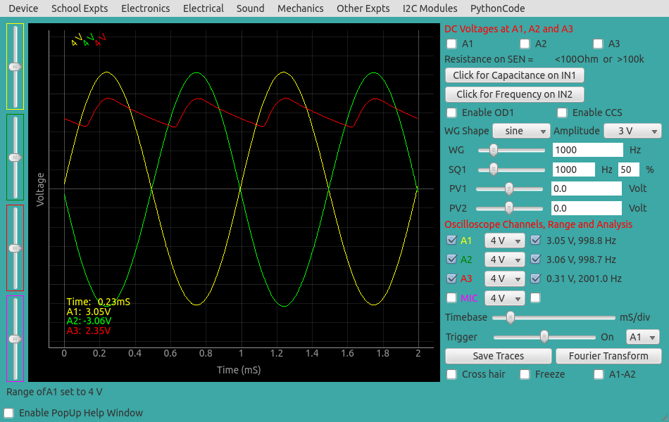 ExpEYES17: Full wave rectifier with a filter capacitor