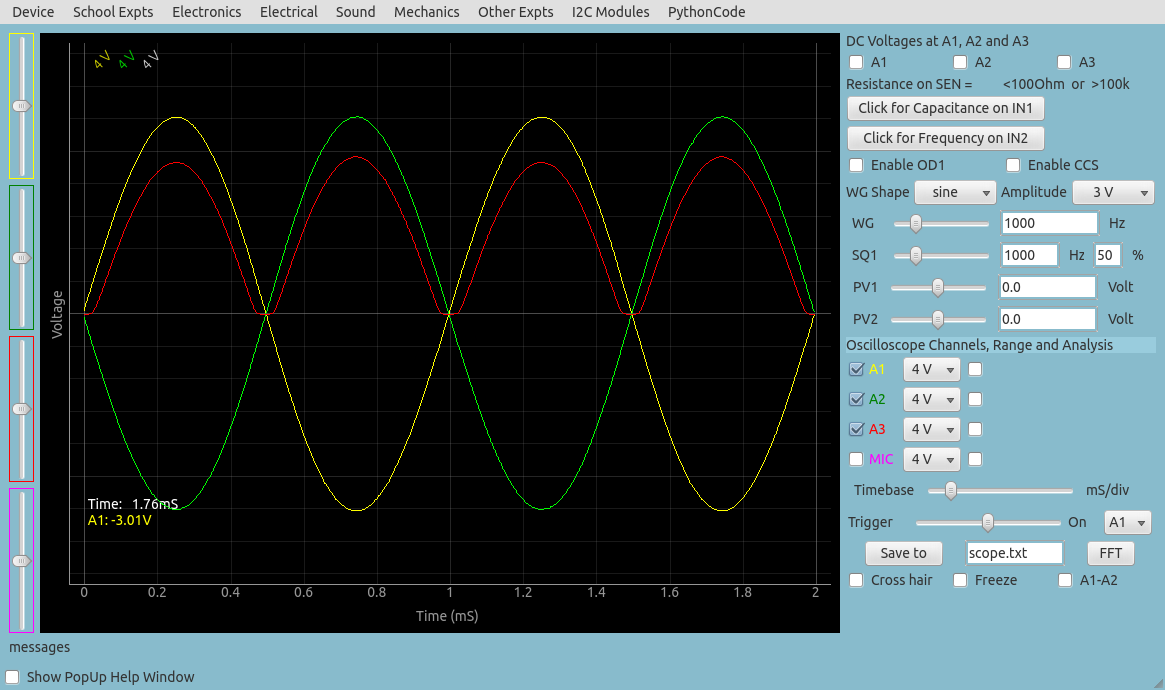 ExpEYES17: Full wave rectifier