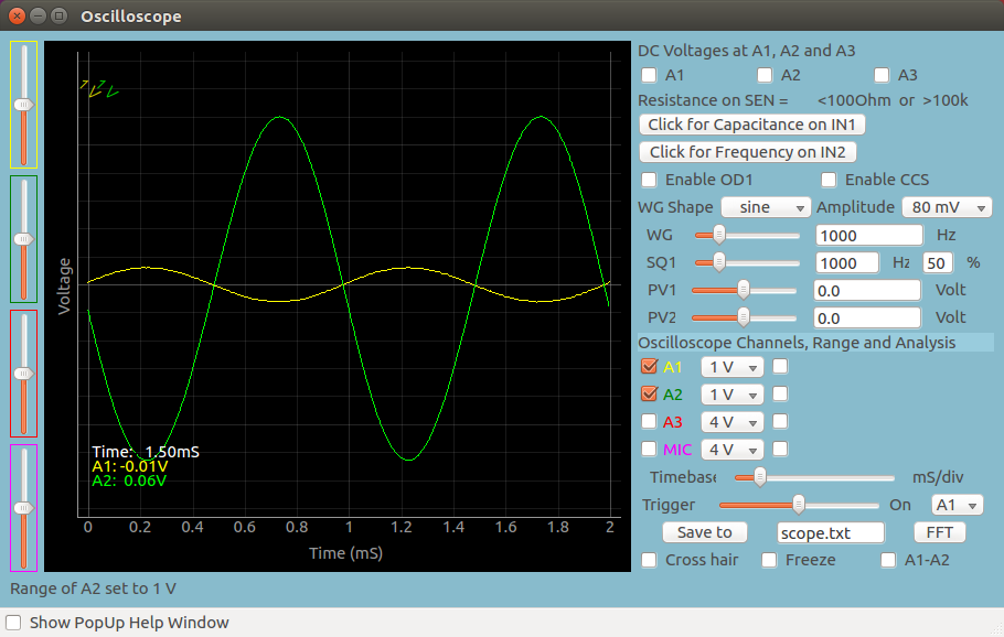 ExpEYES17: Opamp- inverting amplifier